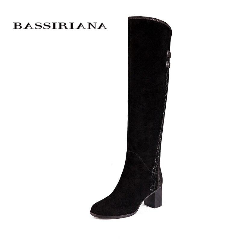 Over-the-knee couro Genuíno botas mulheres sapatos de Inverno mulher camurça Preta Zip 35-40 Alta qualidade frete grátis BASSIRIANA