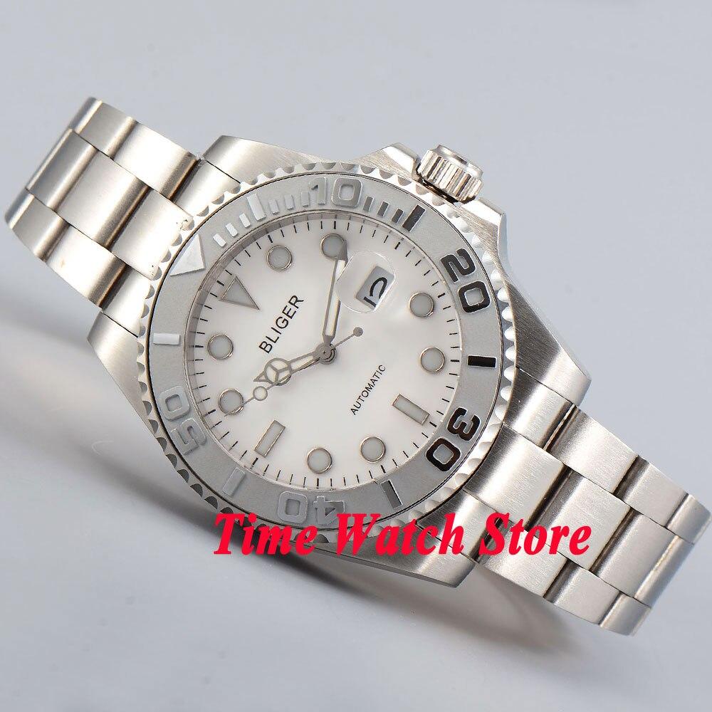 лучшая цена Bliger 40mm white dial luminous saphire glass silver ceramic Bezel Automatic movement men's watch men 196