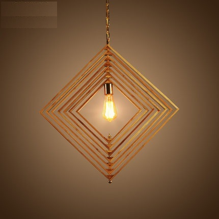 DIY Loft Style Wood Bamboo Droplight Edison LED Vintage Pendant Light Fixtures Dining Room Hanging Lamp Indoor Lighting