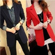 Plus size long blazer feminino 2019 women casual suit jacket