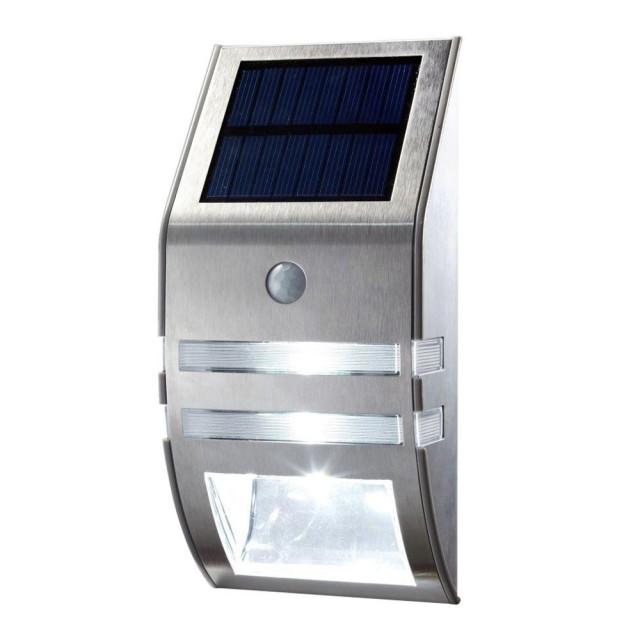 1x silver led solar wall light pir motion sensor garden lights wall 1x silver led solar wall light pir motion sensor garden lights wall motion pir lamp aloadofball Image collections