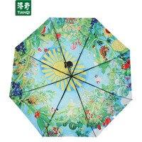 96 CM * 8 ribs 3D Baskı Hayao Miyazaki Totoro Karikatür Şemsiye Taşınabilir Güneşli Yağmurlu 3 Katlanır Şemsiye