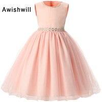 Hot Sale Round Neck Sleeveless Floor Length Beadings Waistline Flower Girl Dress For Wedding 2017 Kids