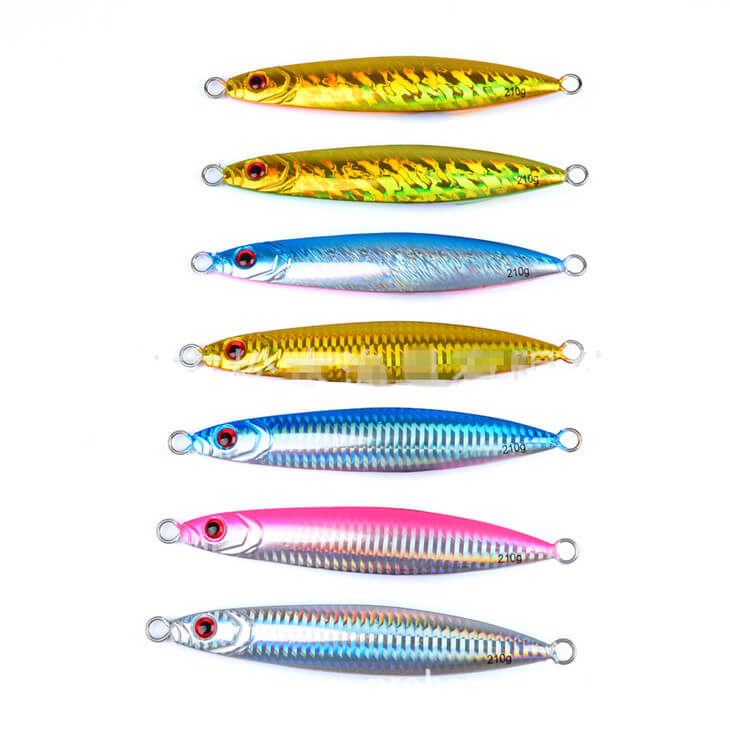 7pcs Metal Fishing Jigs with Feather Hooks 6# Saltwater Fishing Lures 30g//40g