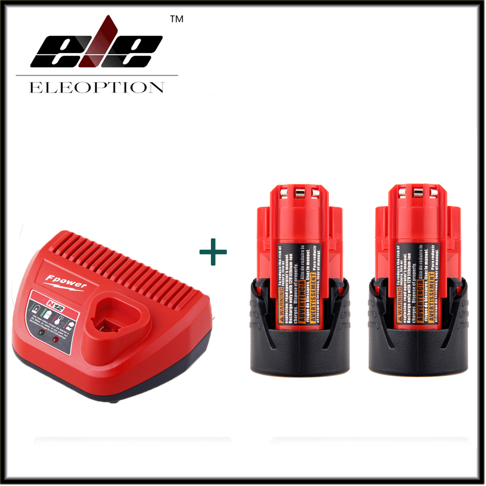 2 PCS Power Tool Battery For Milwaukee M12 48-11-2401 2510-20 48-59-1812 12V 1500mAh Li-ion Rechargeable Battery + Charger replacement li ion battery charger power tools lithium ion battery charger for milwaukee m12 m18 electric screwdriver ac110 230v