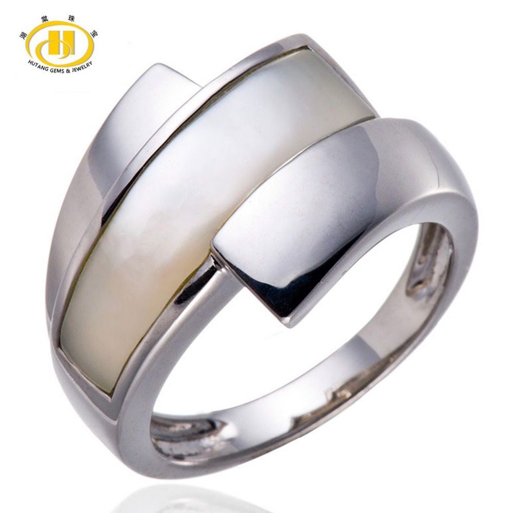 Hutang White Mother of Pearl Shell Pure Sterling Silver 925 Ring Fine Jewelry Birthday Gift Free shipping brand white shell crystal star chain ring 925 sterling silver pearl shell rose compass cuff ring women wedding vents jewelry