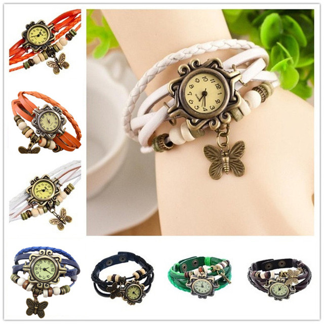 Retro Weave Wrap Lady Bead Butterfly Dangle Bracelet Bangle Quartz Wrist Watch 1
