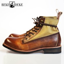 Handmade Retro Lace Up Canvas  Motorcycle Ankle High Top Safety Boot