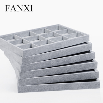 FANXI Jewelry Display Tray Silver Grey Velvet Ring Bracelet Earring Organizer Tray Necklace Display Case Jewelry Holder pillow style jewelry watch bracelet display tray box necklace earring container boxes case jewelry organizer gift
