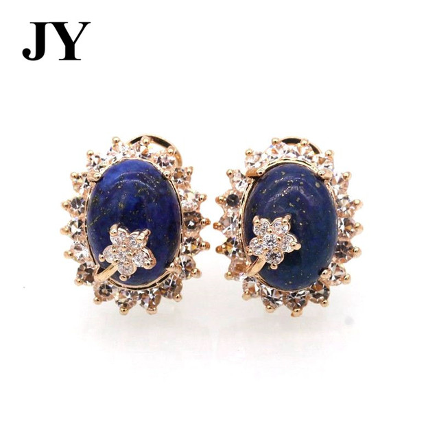 Jy Fashion Gold Color Navy Blue Stone Flower S Earring For Women Elegant Charm Party Jewelry