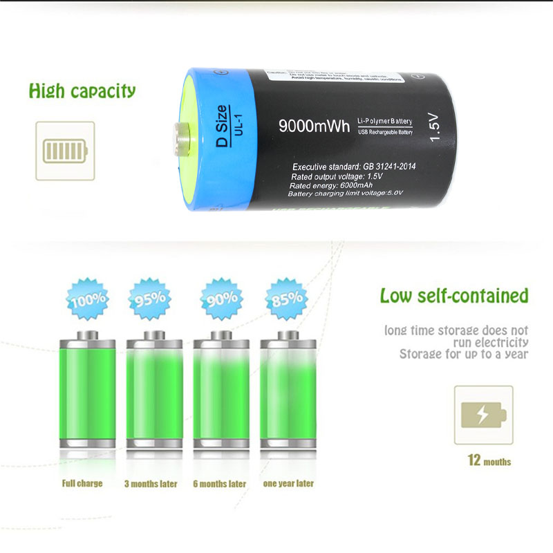 NEW battery etinesan 1pcs lot 1 5V 9000mwh li polymer rechargeable D size battery li ion powerful USB battery in Replacement Batteries from Consumer Electronics