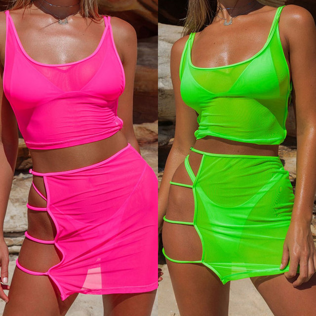 8f5d130e09 In vendita BKLD Neon Verde Rosa Caldo Trasparente Maglia A Due Pezzi ...