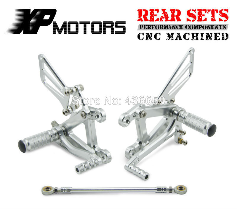 Silver Motorcycle Adjustable Race Rear Sets For Kawasaki