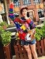 АБО осень 2016 новый Европейский станция Таиланд tide бренд цвет мультфильм блеск мяч кисточкой пальто свитер
