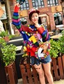 ABO autumn  2016 new European station Thailand tide brand color cartoon glitter ball tassel coat sweater