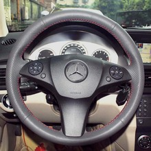 Steering Wheel Covers Case for Benz GLK Class GLK300 2012 Hand Sewing DIY Mercedes Genuine Leather Covers