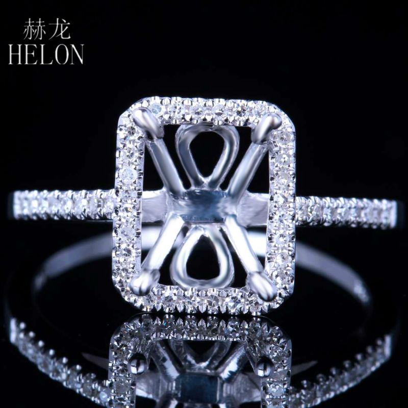 HELON Fine Jewelry Women Solid 10K White Gold Pave Natural Diamonds Ring Solitaire Engagement Semi Mount Ring 6x8mm Cushion Cut helon pear cut 11x8mm solid 10k white gold pave natural diamonds semi mount wedding engagement elegant women s jewelry fine ring