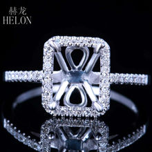 HELON Fine Jewelry Women Solid 10K White Gold Pave Natural Diamonds Ring Solitaire Engagement Semi Mount Ring 6x8mm Cushion Cut