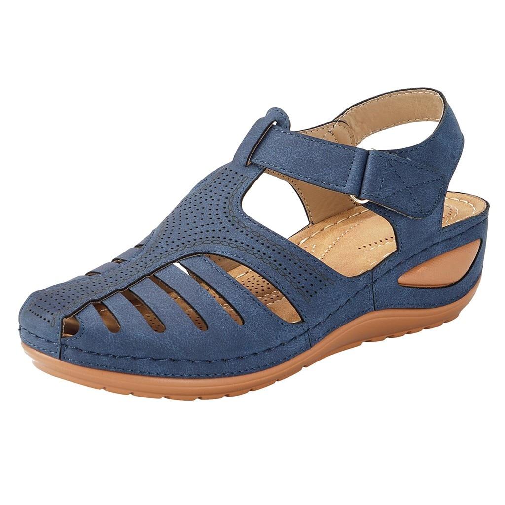 HTB1H8zgeECF3KVjSZJnq6znHFXay Women's Sandals Summer Ladies Girls Comfortable Ankle Hollow Round Toe Sandals Female Soft Beach Sole Shoes Plus Size C40#