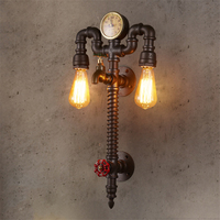 Vintage Loft Style Industrial Vintage Wall Light Fixtures Home Clocks Watches Water Pipe Lamp Edison Wall Sconce Indoor Lighting