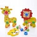 3D Деревянные Сочетание Животных DIY Игрушки Головоломки для Детей Раннего Образования Жираф Лев Игрушки