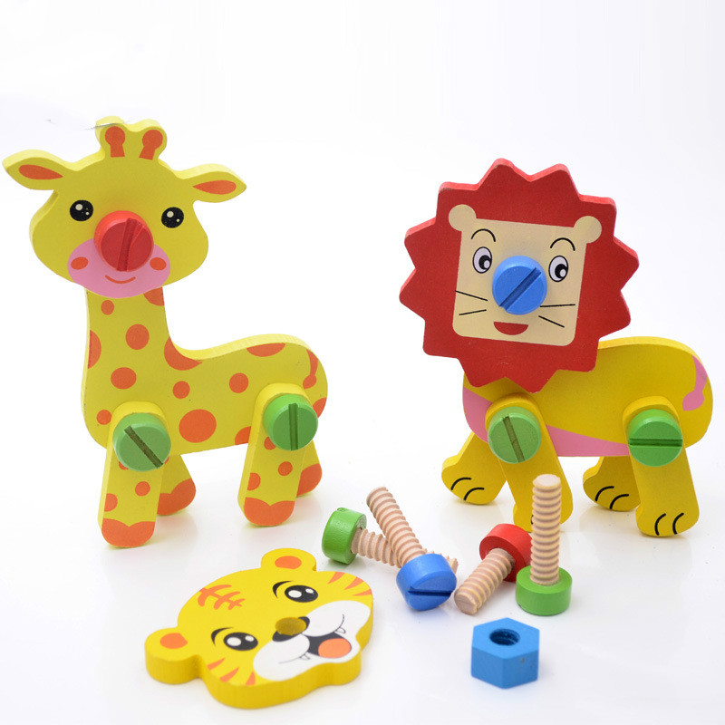 3D ξύλινα ζώα συνδυασμός DIY παιχνίδια παζλ για παιδιά πρόωρη εκπαίδευση καμηλοπάρδαλη παιχνίδια λιονταριών