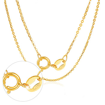 New AU750 Yellow Gold thin O Link Necklace Chain 0.8mm Necklace Chain