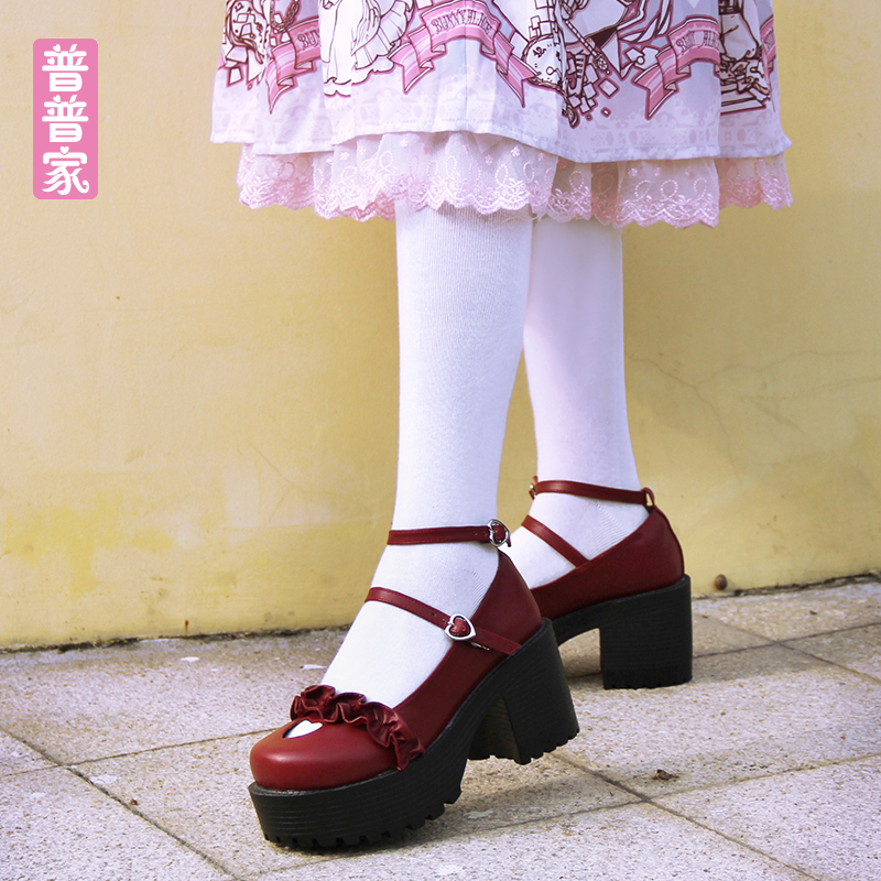 Princess sweet lolita shoes Spring College Wind Originally High heel Round head Lace up Heart-shaped custom shoes pu936Princess sweet lolita shoes Spring College Wind Originally High heel Round head Lace up Heart-shaped custom shoes pu936