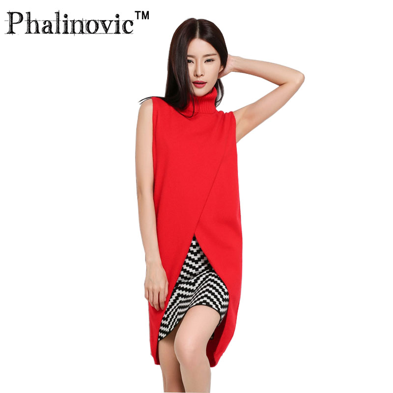Phalinovic Women Autumn Long Cashmere Vest 2017 Clothes Slim Sleeveless Sweater Winter Female High Turn down Collar Pullover