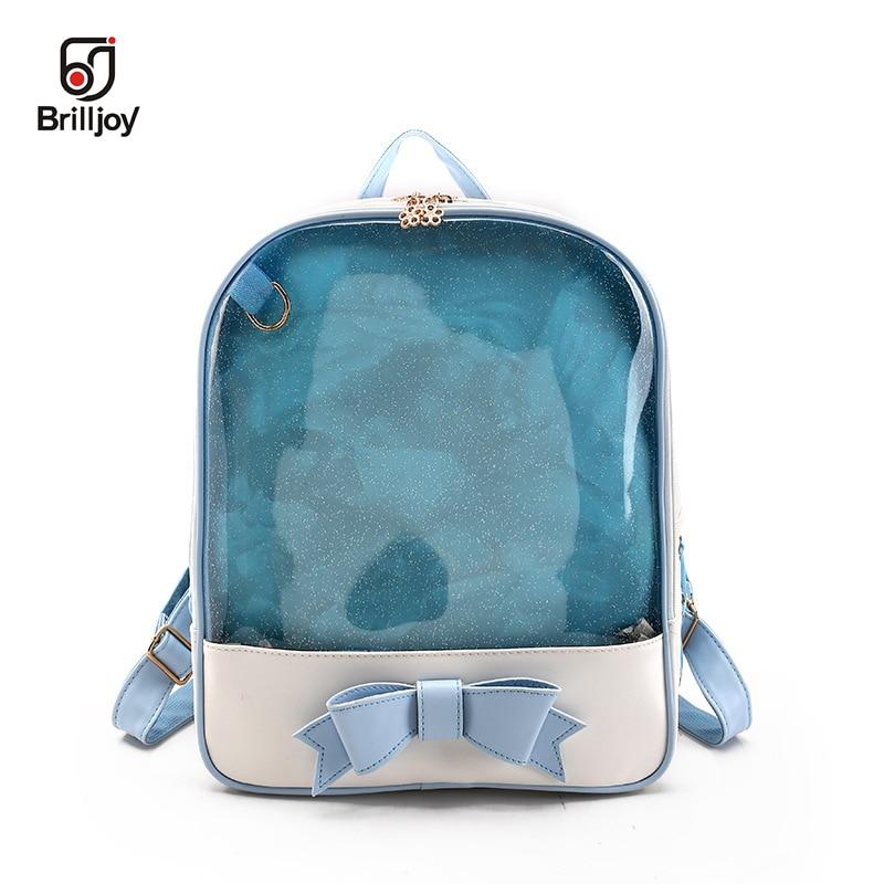 Brilljoy Backpack Cute Clear Transparent Bow Ita Bag Harajuku School Bags  For Teenage Girls Rucksack Kids Kawaii Itabag 3168bfeea4ca