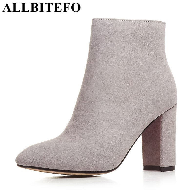 ALLBITEFO square toe genuine leather high heels women boots brand thick heel ankle boots woman martin boots girls shoes woman