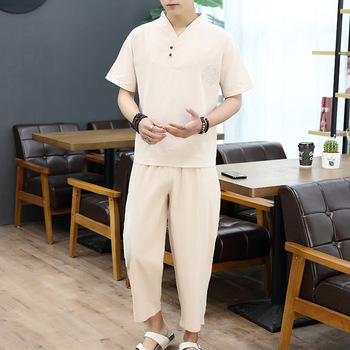 men clothes 2019 t shirt tshirt Brand men linen Tops&Tees sets plus size M-9XL T-shirt Chinese style two-piece suits 5 colors