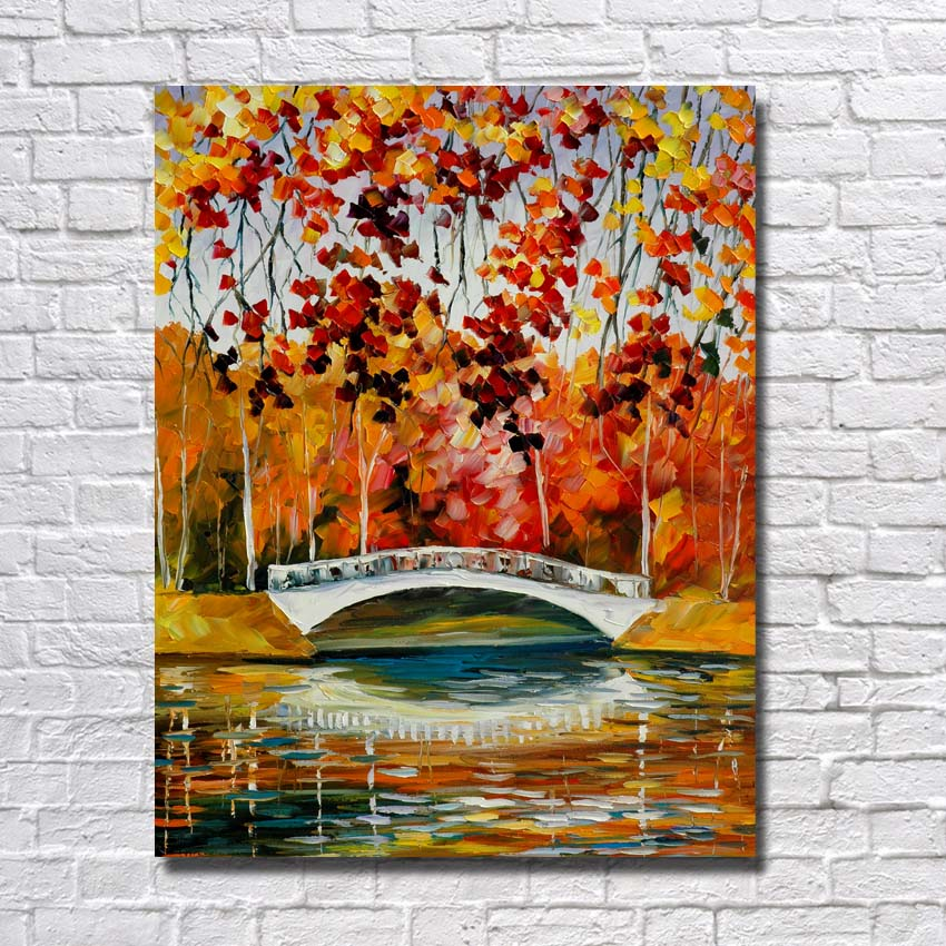 Big Size Natural River Scenery Art Painting Hand Painted Canvas Art Living Room Wall Decor Knife Oil Painting no Framed