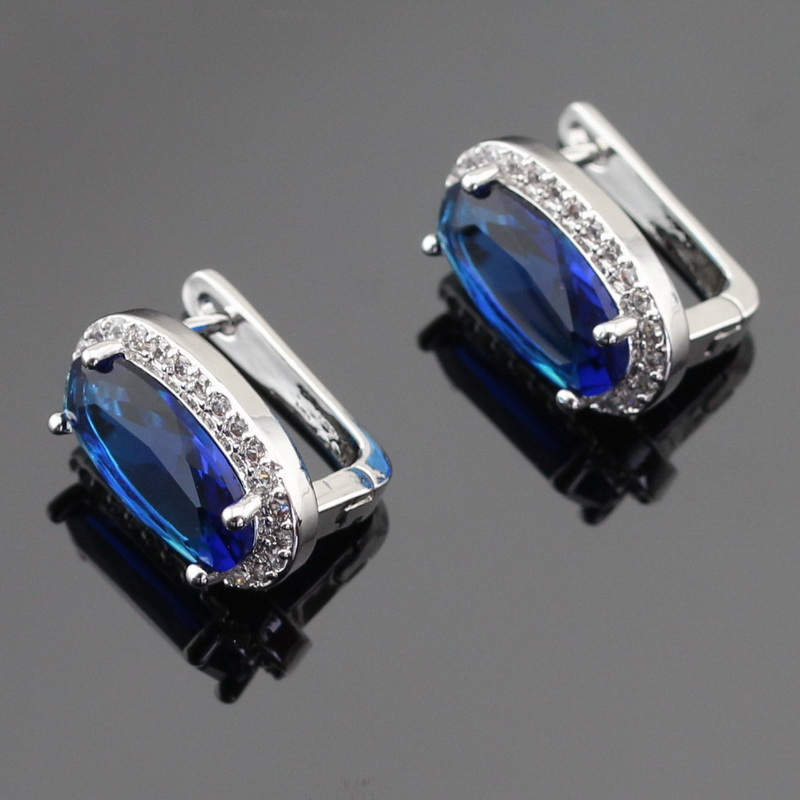 Blue Green Light Blue Stones Silver Color Hoop Earrings Jewelry For Women Free Gift Box blouse color blue