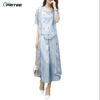 687bfad74 Bordado de lunares Ensemble Femme Deux piezas Oficina señora Conjunto  femenino trajes de verano para mujer traje