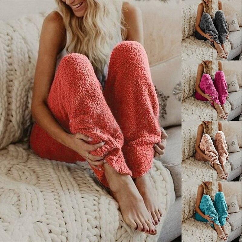 Schlafhosen Calofe 2018 Neue Frauen Winter Weichen Plüsch Hosen Herbst Warme Lounge Schlaf Pyjama Feste Lange Hosen Winter Nachtwäsche Plus Größe 3xl Quell Sommer Durst