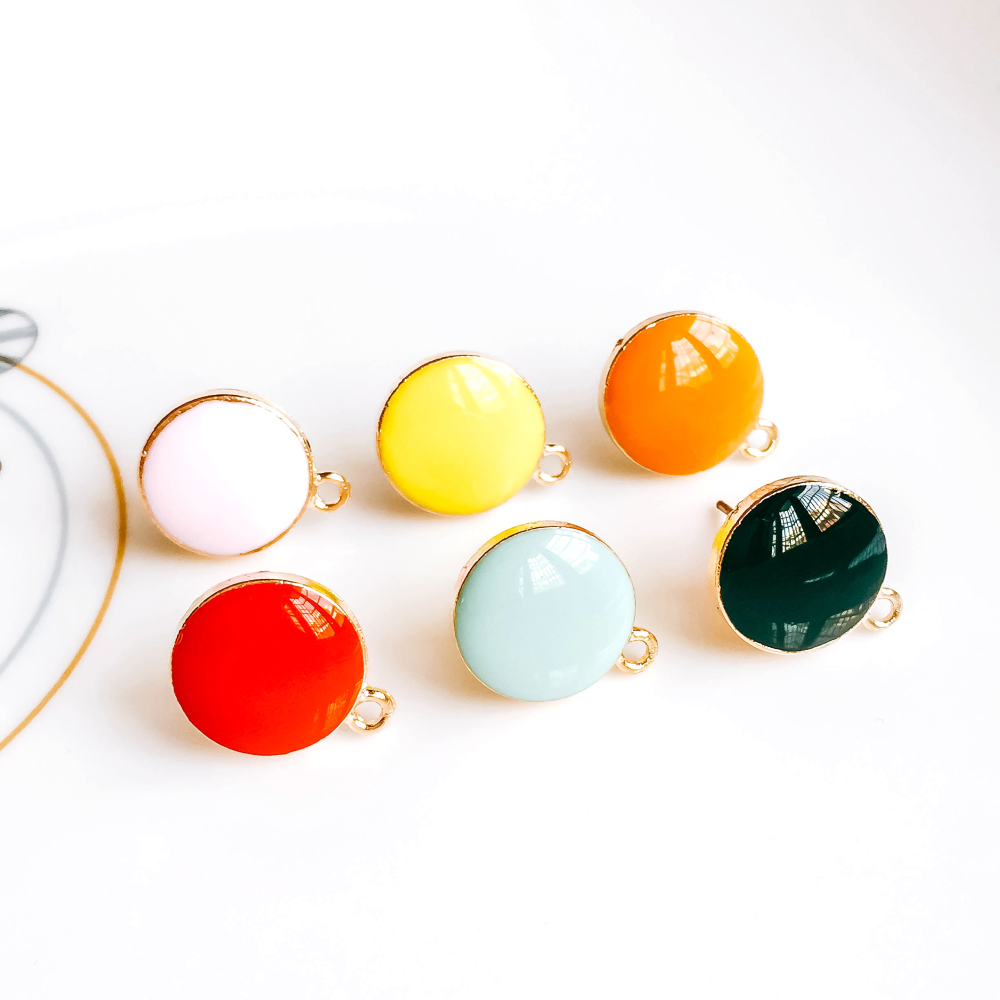 Multicolor Stud Earrings Eardrop Accessories Jewelry Component Diy Material Handmade 10pcs