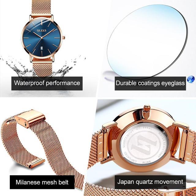 Ultra thin Ladies Watch Waterproof Rose Gold Stainless Steel Quartz Calendar Wrist Watch 8
