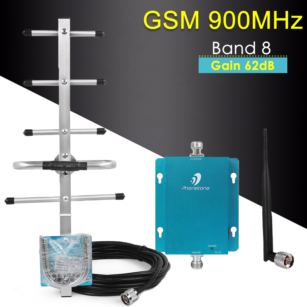 900MHz GSM Repeater 2G GSM Cellular Signal Booster Gain 62dB Mini 900MHz GSM Repeater Mobile Phone Signal Booster Amplifier Set