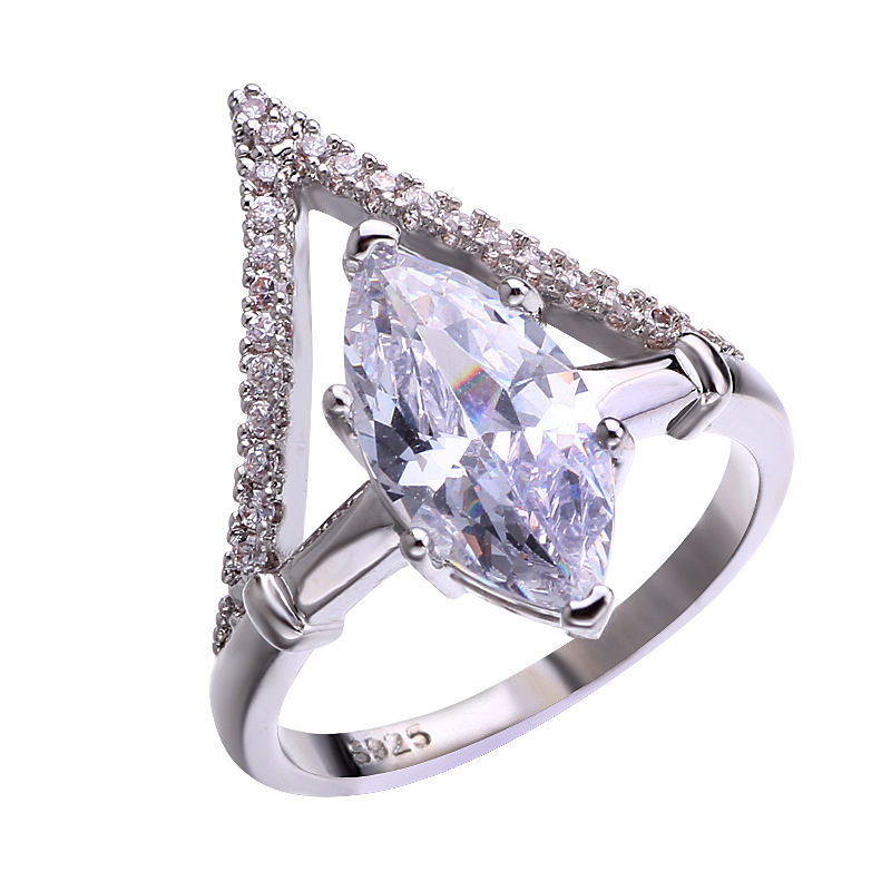 Fashion Luxury Silver Zirconia Ring Women 39 s Wedding Party Zircon Crystal Ring 2019 Romantic Jewelry in Rings from Jewelry amp Accessories