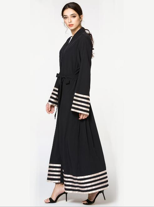Muslim Striped Maxi Dress Open Worship Service Musulmane Dubai Middle East Islamic Clothing Abaya Cardigan Long Robe Gowns Tunic in Islamic Clothing from Novelty Special Use