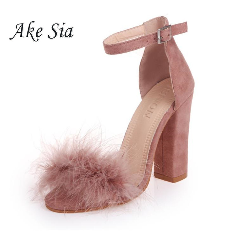 Ankle Strap High Heels Faux Fluffy Rabbit Fur Women Sandals 2019 Thick High Heel Party Wedding Summer Lady Shoes s118