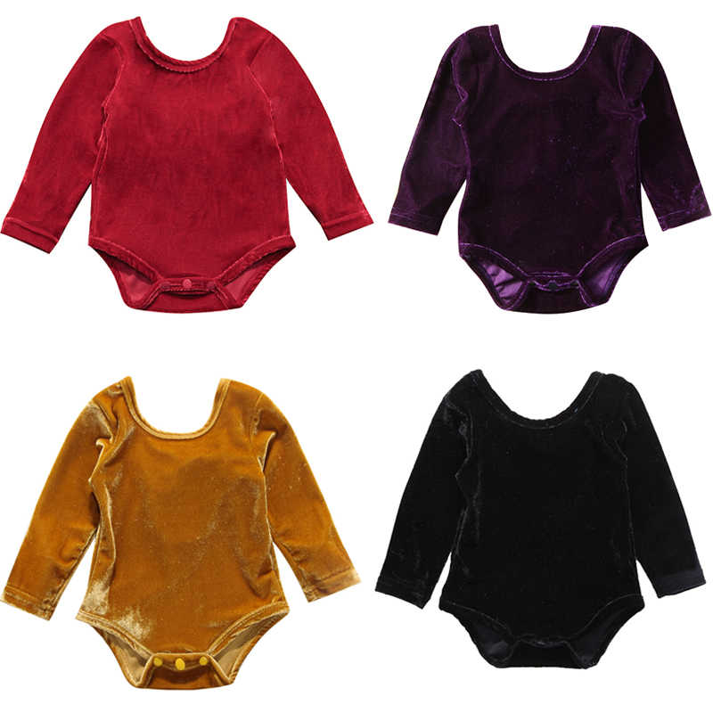 161e6e6a5 0-24M Lovely Newborn Baby Girl Bodysuit Long Sleeve Back Bow Velvet Outfits  Baby Body Suit Jumpsuit Playsuit Outfit Clothes