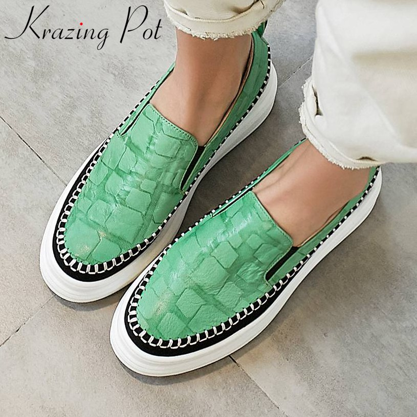 Krazing Pot Luxury Sheep Leather Round Toe Loafers Mixed Colors British School Slip On Casual Shoes Daily Vulcanized Shoes L03
