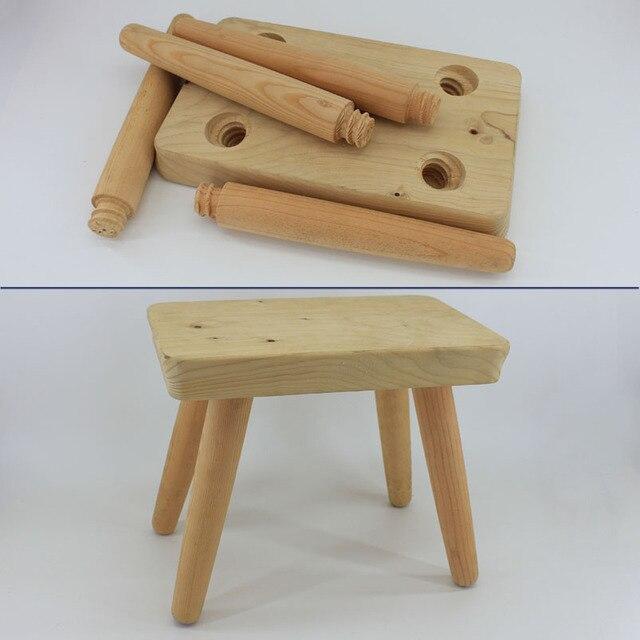 Unpainted Wooden Chair Portable Unvarnish Kids Children Wood Stool Knockdown