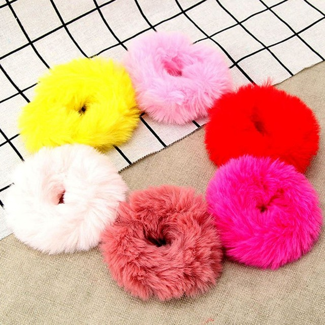 Fashion Girls Elastic Faux Rabbit Fur Scrunchie Hair Rope Ponytail Holder  Elastic Plush Hair Ring Hair Accessories