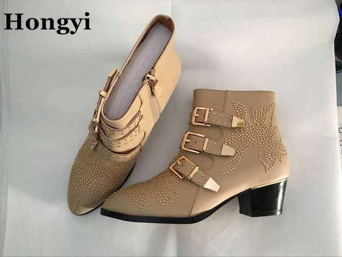 Hongyi Soft Leather Buckle Studded Susanna Ankle Boots Women Pointed Toe Chunky Heels Botas Mujer Fall Winter Motorcycle Boot цена и фото