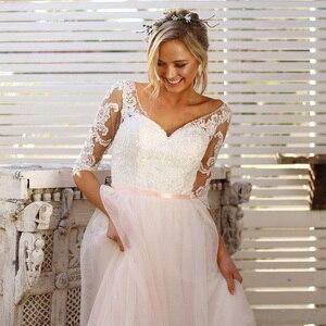 Image 2 - Half Mouwen Bridal Dress V hals Lace Tulle Rok Backless Trouwjurken Vestido De Novia 2019 Bruidsjurken Gelinlik