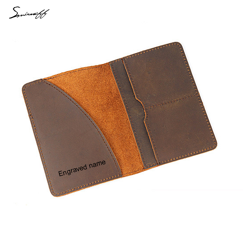 New Cow Leather Passport Bags Personality Engraved Name Passport Card Holder Portable Travel Accessories Cover For Passport