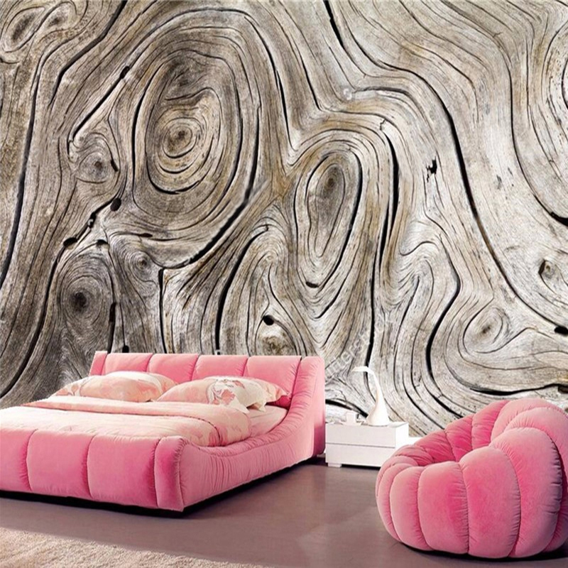 Custom Wall Mural Non-woven Wallpaper Retro Wood Grain Abstract Art Painting Living Room Sofa TV Background Photo Wall Paper 3D